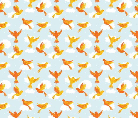 Yellow and Orange Birds in Flight on a Blue Sky fabric by latheandquill on Spoonflower - custom fabric