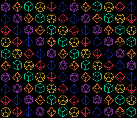 Small Neon Polyhedrals fabric by supernatural20 on Spoonflower - custom fabric