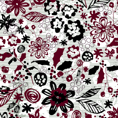 Holiday Floral and Strips fabric by sarah_treu on Spoonflower - custom fabric