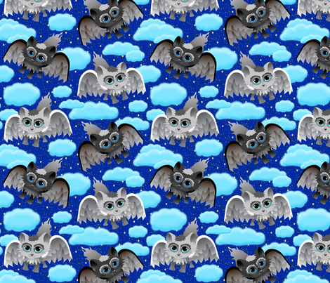 Meowl's in the Clouds fabric by everhigh on Spoonflower - custom fabric