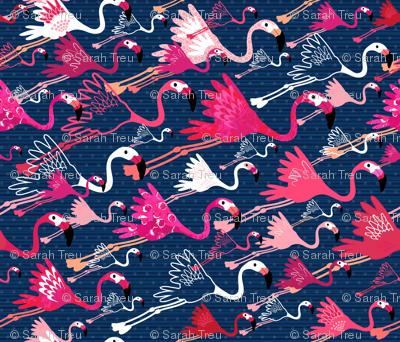 Flamingos On Blue