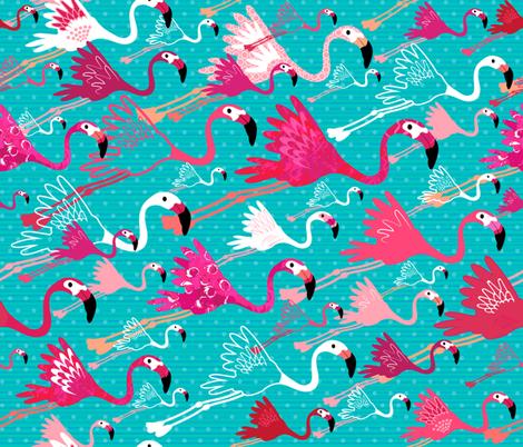 Flamingos On Aqua fabric by sarah_treu on Spoonflower - custom fabric