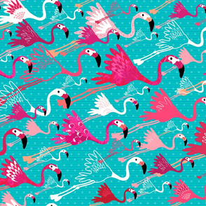 Flamingos On Aqua