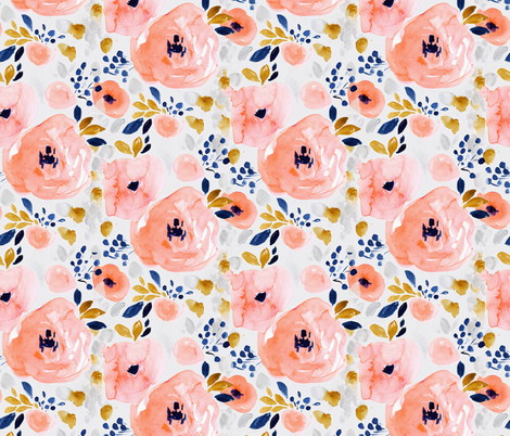 genevieve floral-gray fabric by crystal_walen on Spoonflower - custom fabric