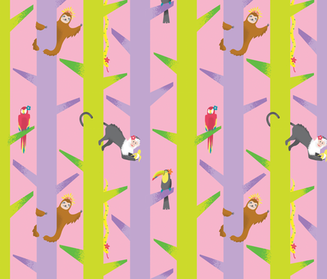 Ladies of the Rainforest fabric by nathaliemitzka on Spoonflower - custom fabric