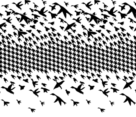 Black White Houndstooth birds fabric by ciboulette on Spoonflower - custom fabric