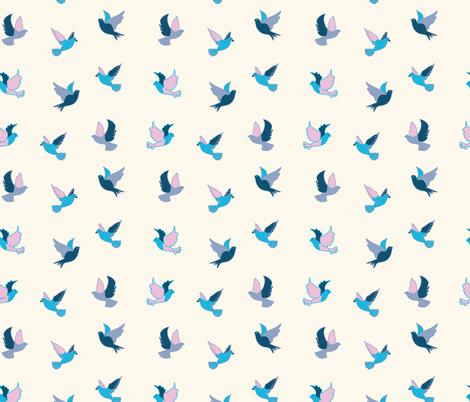Pink and Aqua Birds fabric by inezjestine on Spoonflower - custom fabric