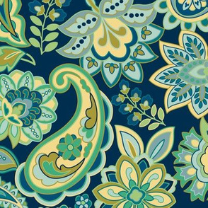Green Gold Paisley Navy