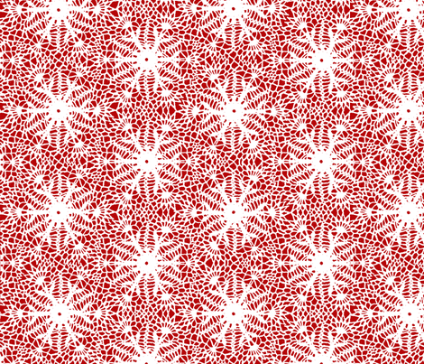 crocus snowflake red white fabric by whatever-works on Spoonflower - custom fabric