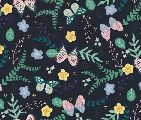 Sketchy Butterfly fabric by eastcoastcharm on Spoonflower - custom fabric