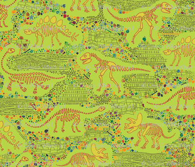 Dinosaur Fossils - Mustard on Lime