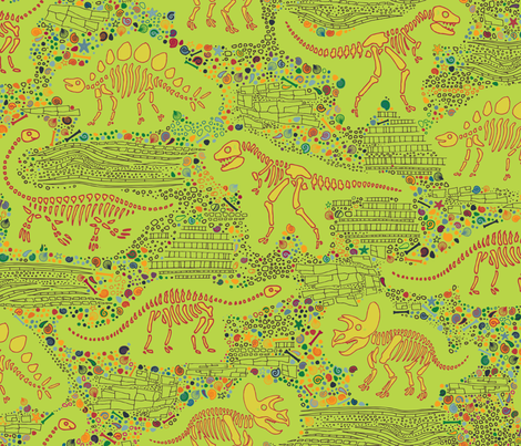Dinosaur Fossils - Mustard on Lime fabric by cecca on Spoonflower - custom fabric