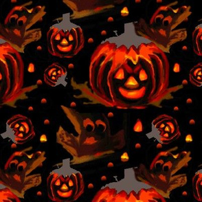 Glowing pumpkin and spooky ghost2