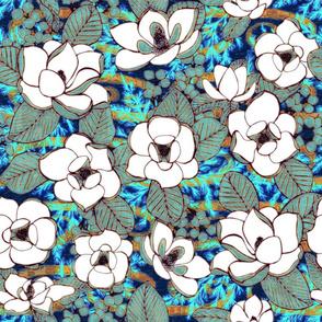 Block Print, Magnolia, Cobalt, XL