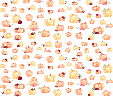 Small Scale Floral Pumpkins fabric by brookiesdesigns on Spoonflower - custom fabric