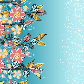 Large Floral Border in Pink, Aqua, Yellow Flowers