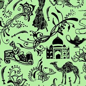 Arabian Nights on Light Green // Large