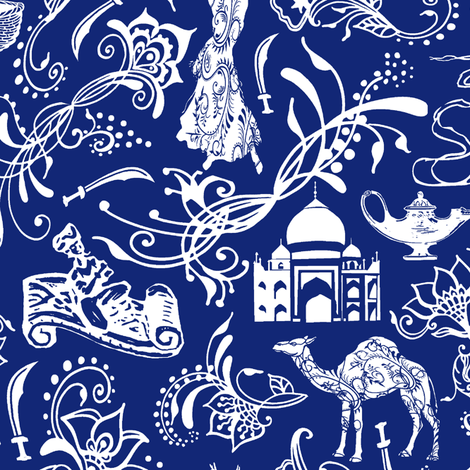 Arabian Nights on Midnight Blue // Large-size fabric by thinlinetextiles on Spoonflower - custom fabric