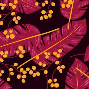 botanical burgundy purple gold and black