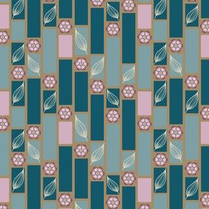 Teal and Plum Block Print with Leaves and Flowers