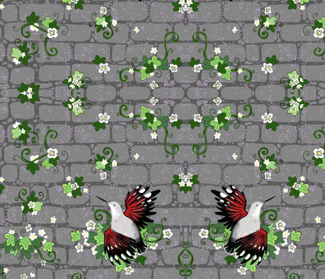 Wall Creepers and Ivy  fabric by creativetea on Spoonflower - custom fabric