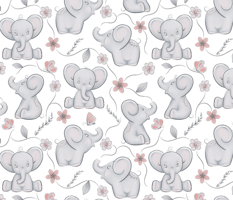 Cute little elephants fabric by papersay on Spoonflower - custom fabric