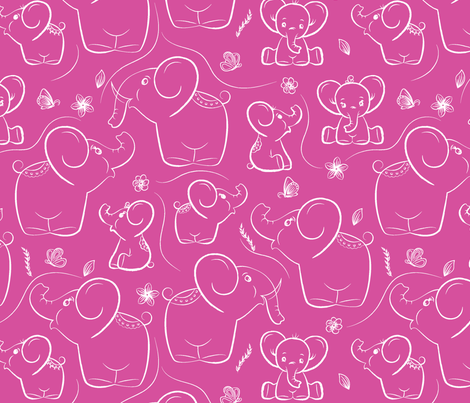 Elephants on Pink background fabric by papersay on Spoonflower - custom fabric
