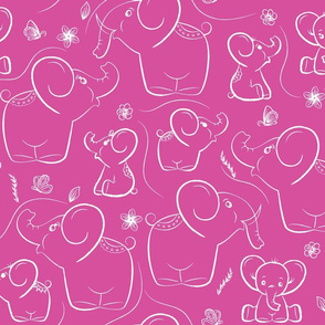 Elephants on Pink background