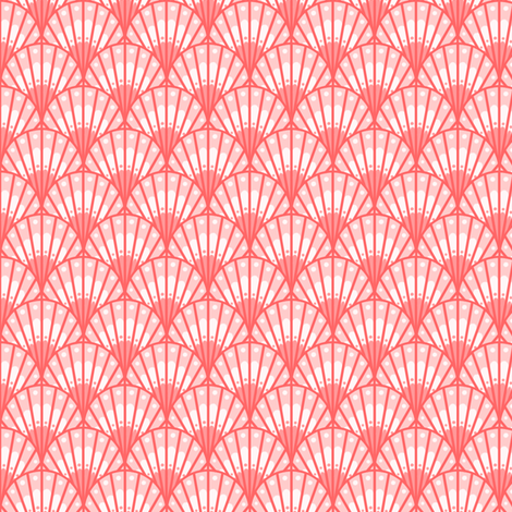 Morning Bloombox Scallops - Coral fabric by siya on Spoonflower - custom fabric