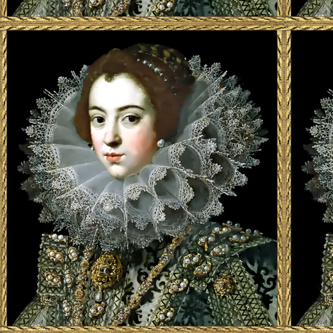 Queen Elizabeth 1 inspired princesses renaissance tudor big lace ruff collar baroque pearls gold beauty 16th century 17th century historical elizabethan era royal portraits beauty beautiful woman lady necklaces brooch jewelry ornate frame border gilt Vict fabric by raveneve on Spoonflower - custom fabric