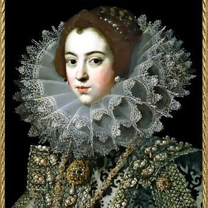 Queen Elizabeth 1 inspired princesses renaissance tudor big lace ruff collar baroque pearls gold beauty 16th century 17th century historical elizabethan era royal portraits beauty beautiful woman lady necklaces brooch jewelry ornate frame border gilt Vict