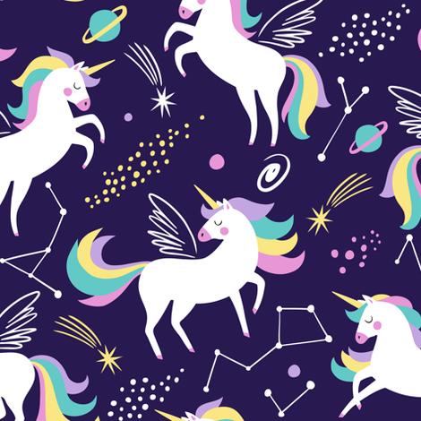 Space unicorns - navy fabric by mirabelleprint on Spoonflower - custom fabric