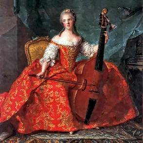Marie Antoinette inspired queens princesses red gown gold yellow floral applique bodice baroque victorian cello music musician music ballgowns rococo royal portraits palace castles beautiful lady woman beauty elegant gothic lolita egl 18th century neoclas