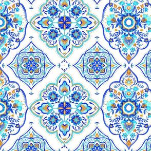 Hand painted Moroccan Tile 2 - Aqua