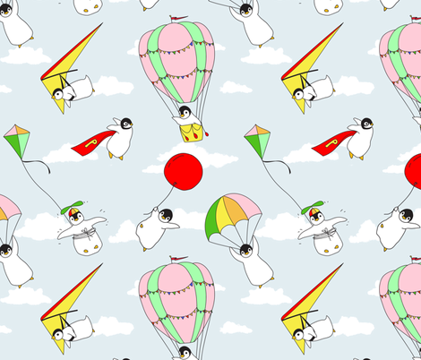 Penguins Can Fly! fabric by curious_nook on Spoonflower - custom fabric