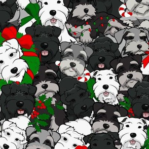 Large Schnauzer Christmas Collage