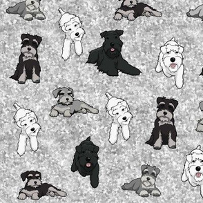 Cartoon Schnauzers on Grey Cloudy Background large