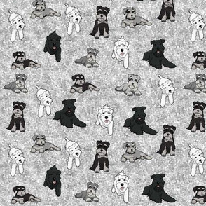 Cartoon Schnauzers on Grey Cloudy Background small