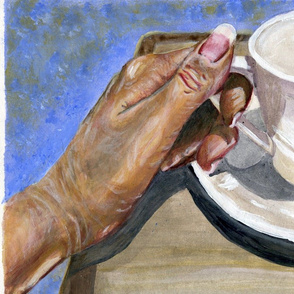 Sunny tea time-single panel for art hanging