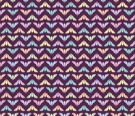 Colorful Flying Bats on Plum fabric by anderson_designs on Spoonflower - custom fabric