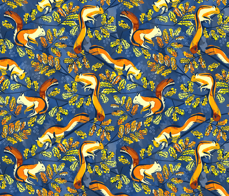 Oak Tree with Squirrels in Fall fabric by marketa_stengl on Spoonflower - custom fabric