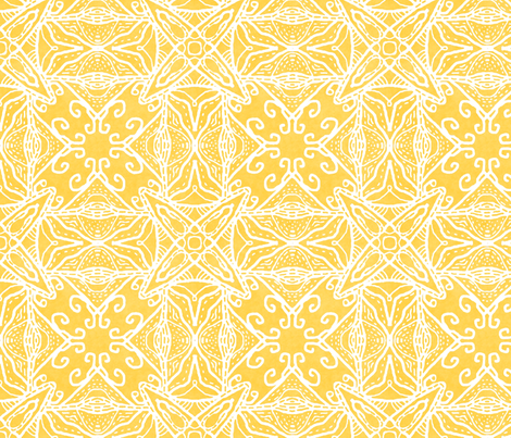 Watercolor Lace Energy, Yellow, Medium fabric by palifino on Spoonflower - custom fabric