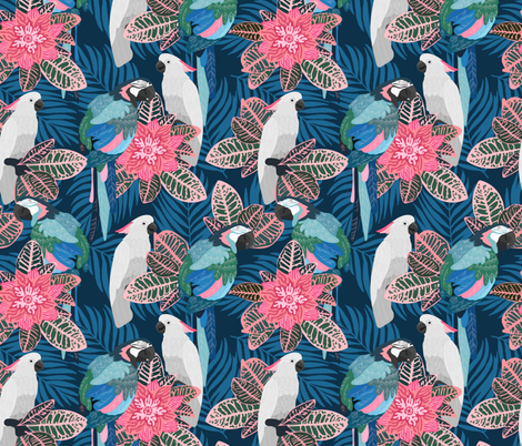 Tropical birds fabric by juliabadeeva on Spoonflower - custom fabric