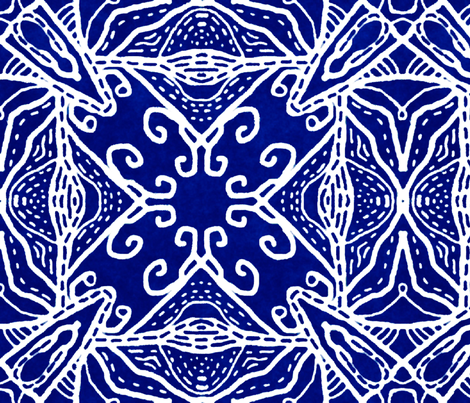 Watercolor Lace Energy, Indigo, XL fabric by palifino on Spoonflower - custom fabric