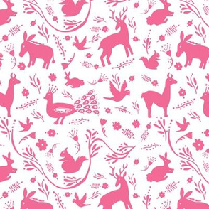 Woodland Otomi - Hot Pink (small)