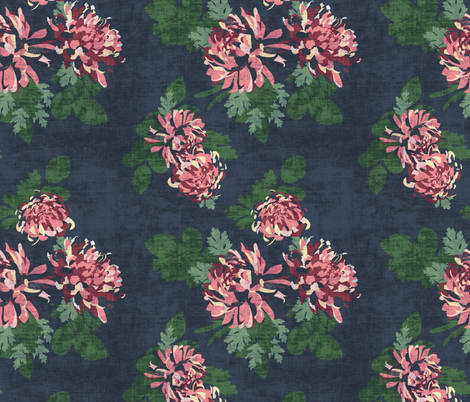 CHRYSANTHEMUM PINK TWILIGHT fabric by holli_zollinger on Spoonflower - custom fabric