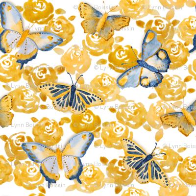 Watercolor Butterflies 'n Roses
