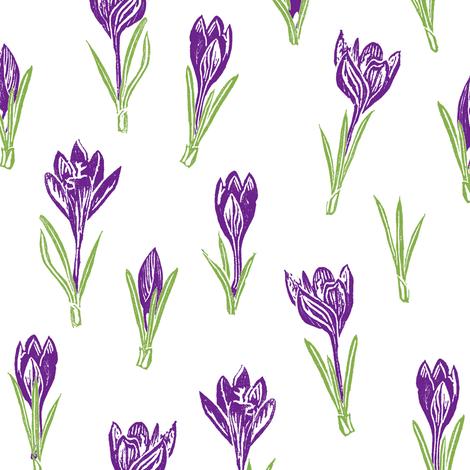 dark bright purple crocuses fabric by weavingmajor on Spoonflower - custom fabric