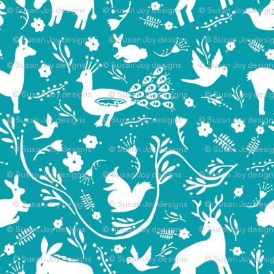 Woodland Otomi - Turquoise Background (small)