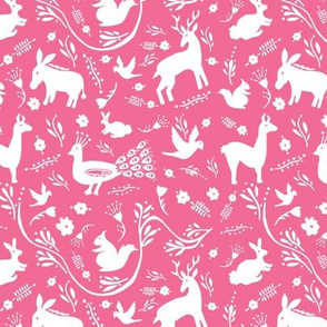 Woodland Otomi - Hot Pink Background (small)